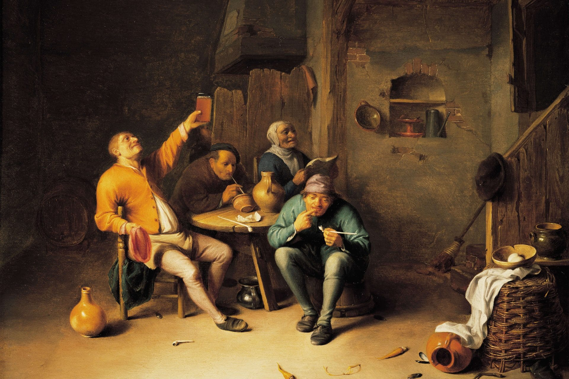 Hendrick Martensz Sorgh, Farmers Smoking and Drinking in a Tavern, c.1650.