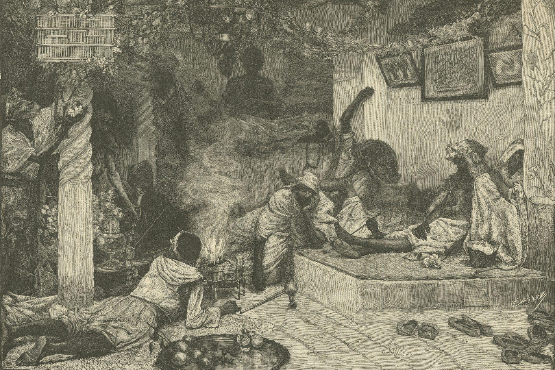 After M. Gabriel Ferrier, Smoking Kiff, 19th century. Etching.