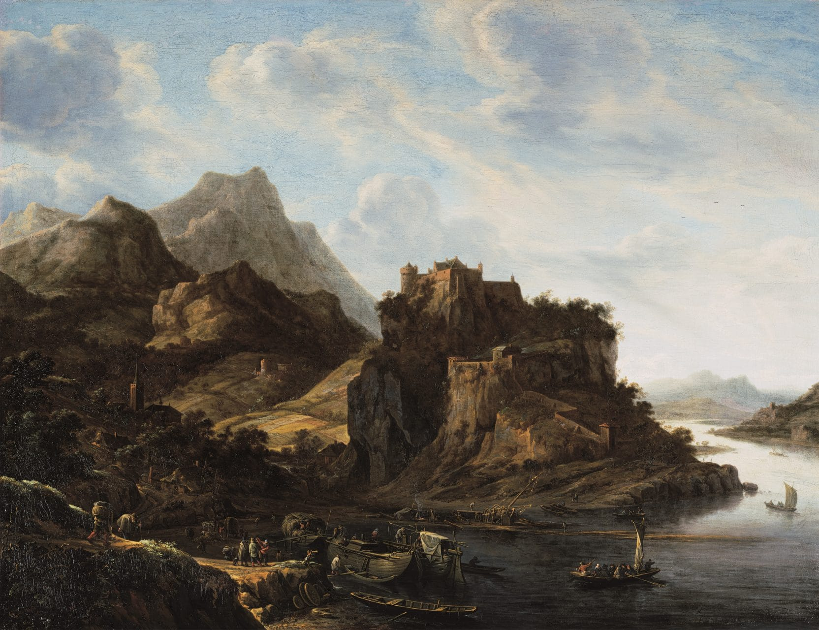 Herman Saftleven, Rhine landscape with many boats, 1649.