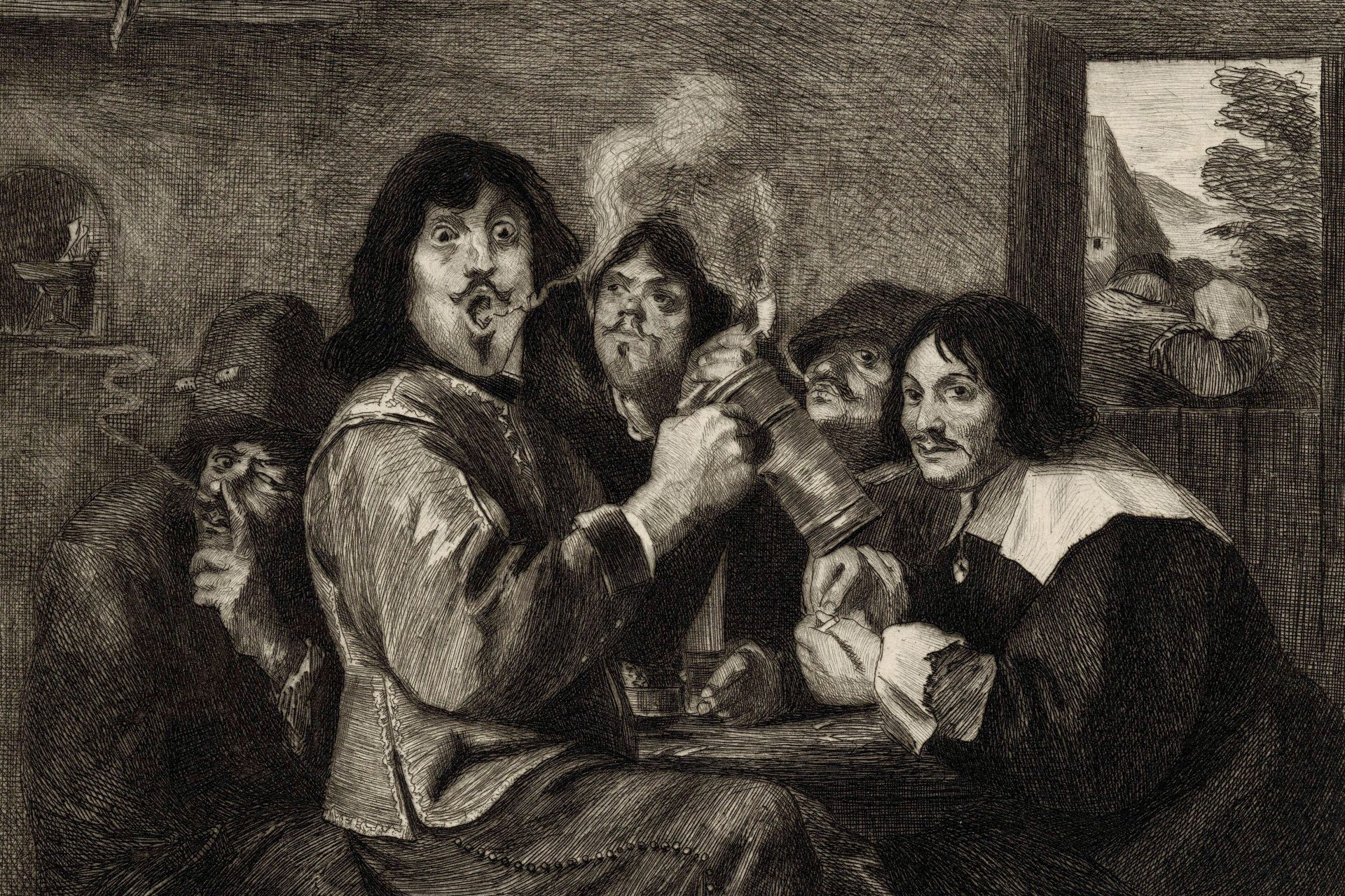 After Adriaen Brouwer, The Smokers, 19th century. Etching.